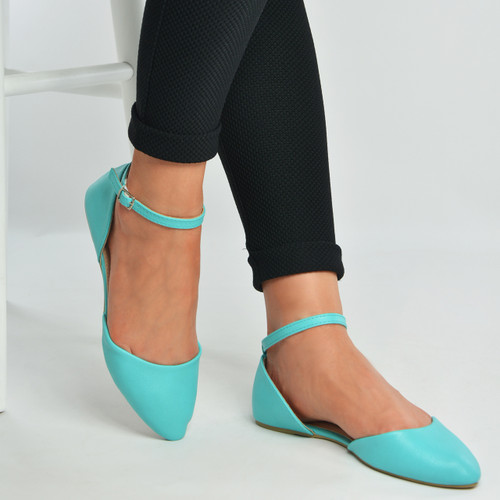 Turquoise Pu Ankle Strap Ballerina
