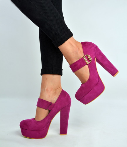 Purple Ankle Strap High Block Heel Pumps