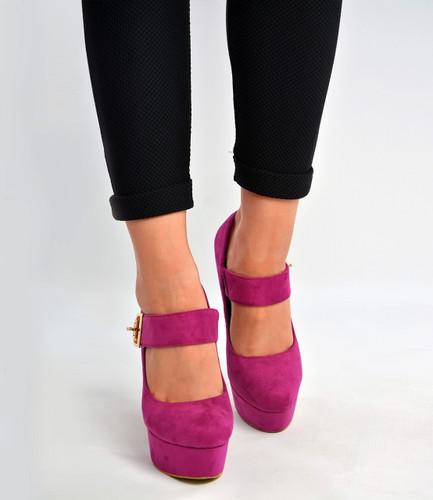 9e651eefba922 Purple Ankle Strap Court Pumps High Block Heels Shoes Size Uk 3-8