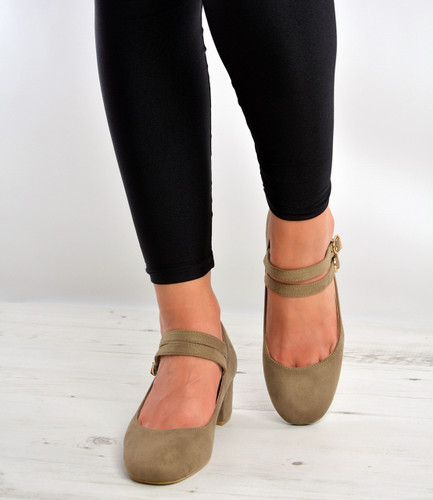 Khaki Mary Jane Double Strap Dolly Pumps