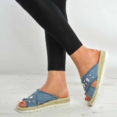 Light Blue Diamond Sandals