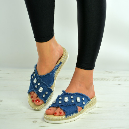 Navy Diamond Flat Sandals