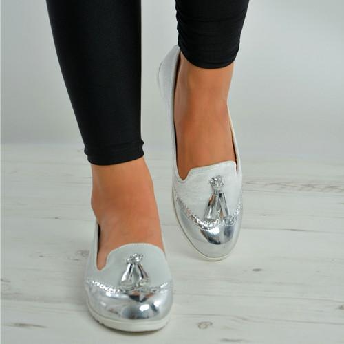 Silver Glitter Fringe Ballerinas