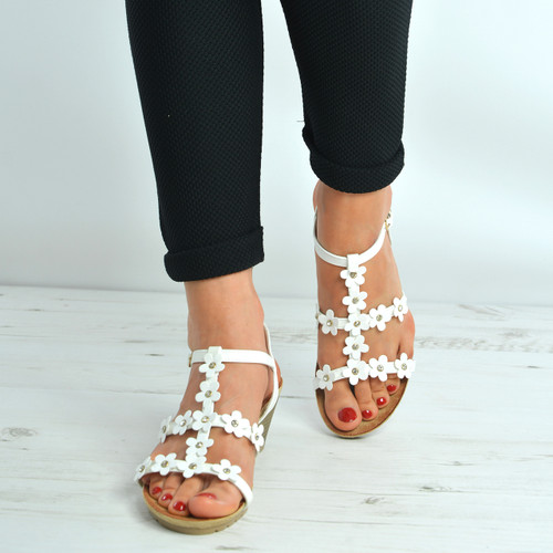 White Flower Diamante Studded Wedge Sandals
