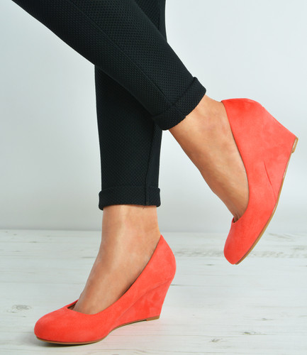 Coral Suede Slip On Court Pumps Wedges