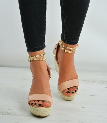 bf24f8e1617 PINK Pu Rock Studs Espadrille High Wedge Heels Platform Sandals ...