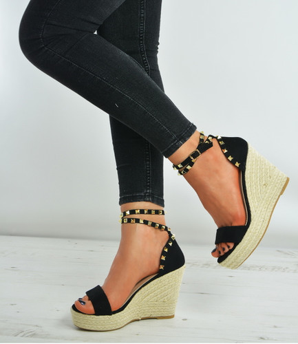 Black Suede Rock Studs Espadrille Wedge Platforms