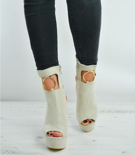 Beige Suede Ankle Strap Block Heel Platforms