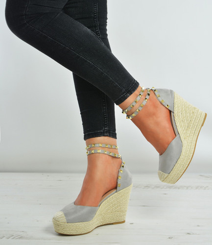 Grey Stud Espadrille Wedges Court Pumps
