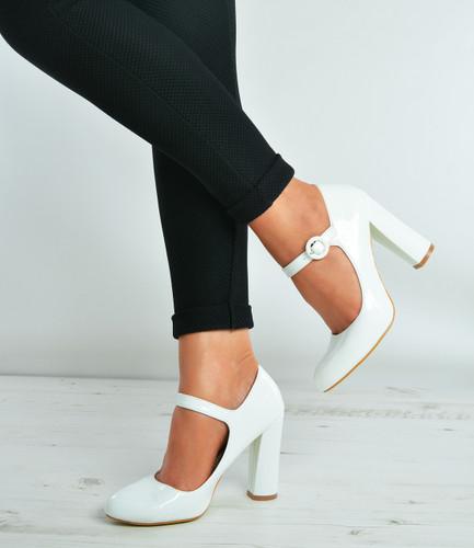 a1def5e9850d White Patent Ankle Strap Block Heel Court Pumps Shoes Size Uk 3-8