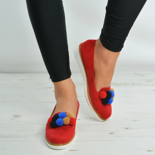 Red Multi Color Pom Pom Slip On Ballerina