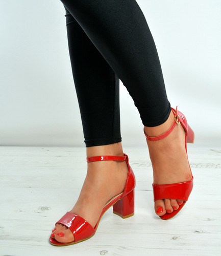 Red Patent Ankle Strap Mid Block Heel Sandals