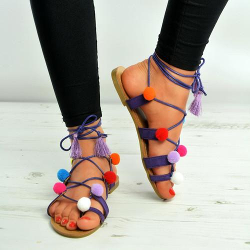 Dark Purple Pom Pom Lace Up Fringe Flat Sandals