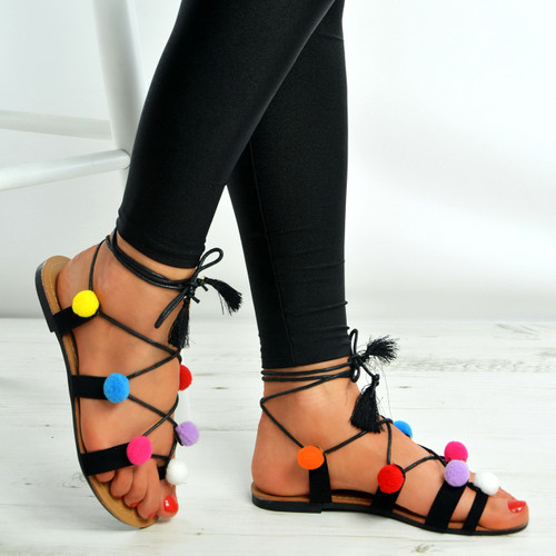 Black Lace Up Fringe Pom Pom Flat Sandals