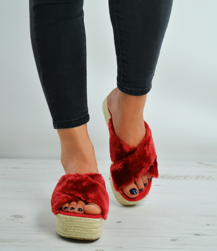 Wine Faux Fur Slip On Flatforms Espadrille Sandals