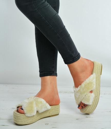 Beige Faux Fur Slip On Flatforms Espadrille Sandals