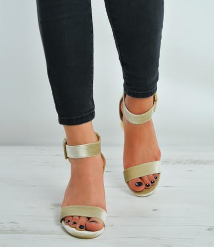 Beige Velvet Ankle Strap Block Stylish Heel Sandals