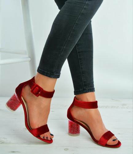 Red Velvet Ankle Strap Block Stylish Heel Sandals