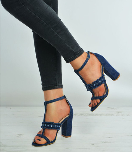 Brenna Navy Denim Studded Block Heel Sandals