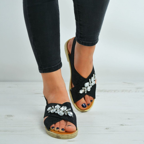 Adeline Black Diamante Studded Flat Sandals