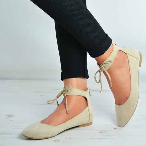 Larissa Beige Suede Back Zip Ankle Strap Ballerinas