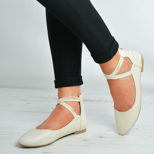Kaylie Beige Back Zip Ankle Strap Flat Ballerinas