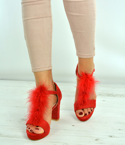 Molly Red Fur Ankle Strap Block Heel Sandals