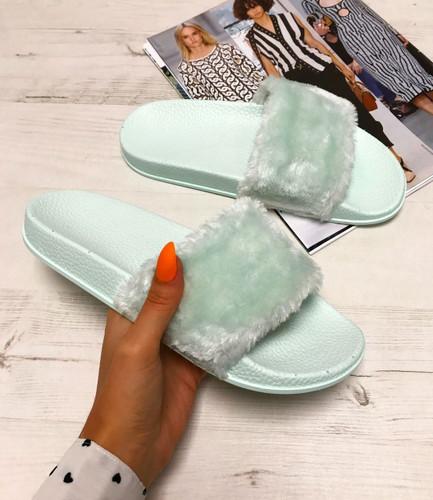 Hanna Green Fur Flip Flops