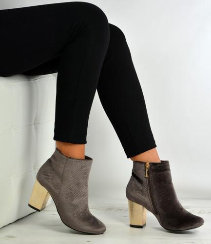 Sandra Taupe Velvet Block Heel Ankle Boots