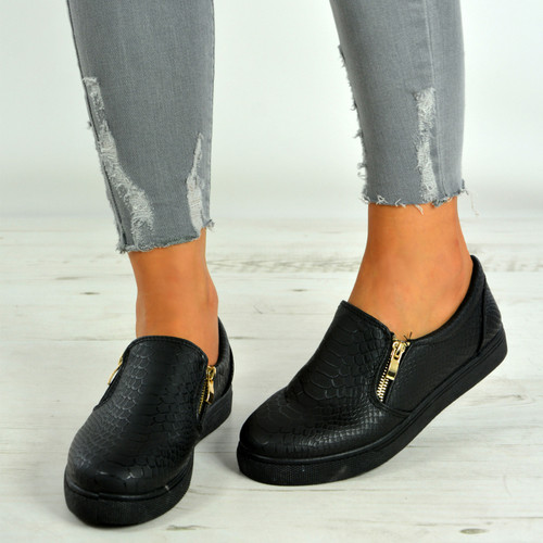 Lindsay Black Sole Slip On Snake Skin Trainers