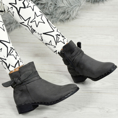 Lizeth Grey Studded Bow Ankle Boots