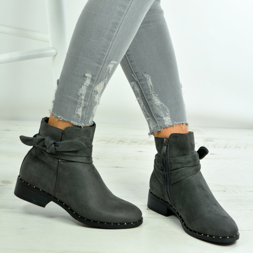 Brand New Womens Ladies Ankle Boots Studded Bow Zip Faux Suede Low ... 09a51ad454