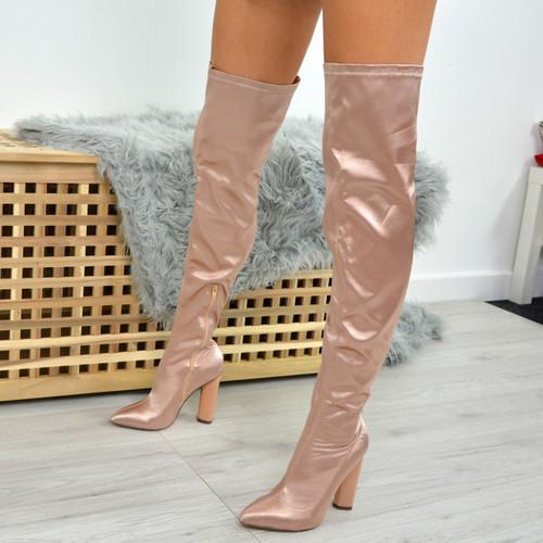 Jessie Champagne Satin Otk Boots
