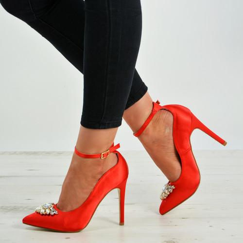Jayleen Red Satin Diamante Pumps