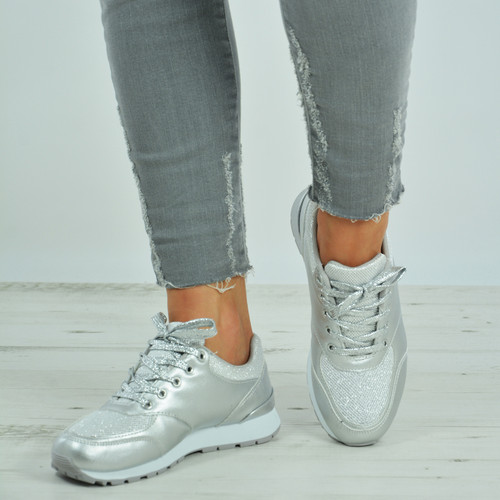 Yamilet Silver Glitter Trainers