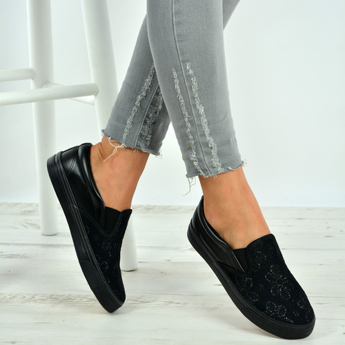 Carley Black Slip On Plimsolls