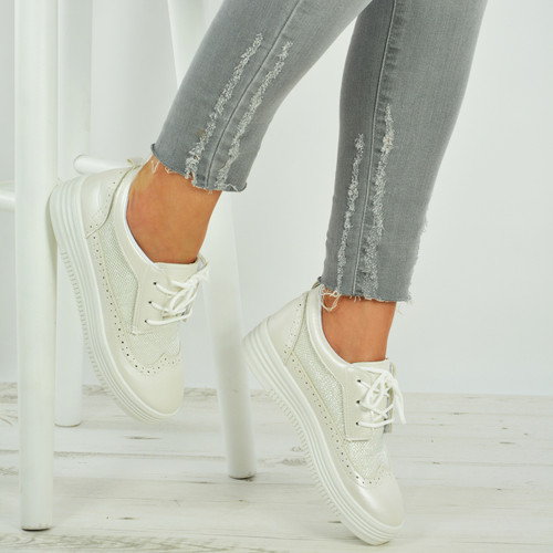 Brooke White Lace Up Wedge Trainers