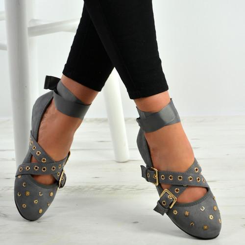 Kenley Grey Ankle Wrap Ballerina