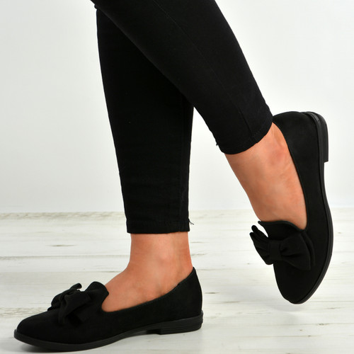 Josie Black Bow Slip On Ballerinas