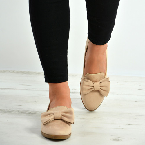 Josie Beige Bow Slip On Ballerinas