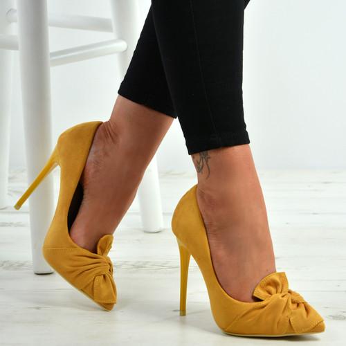 Ingrid Yellow Bow Stiletto Pumps