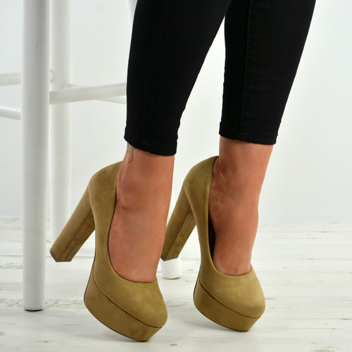 Julissa Khaki Block Heel Platform Pumps