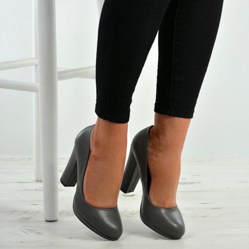 Cora Grey Slip On Block Heel Pumps