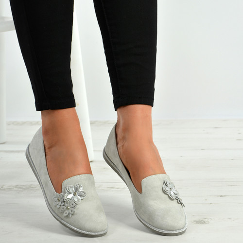 Bella Silver Flower Slip On Ballerina