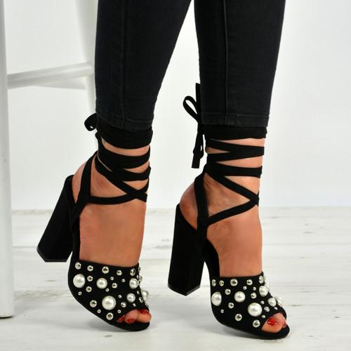 Sophia Black Pearl Block Heel Sandals