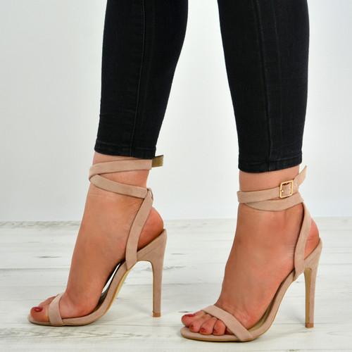 Allie Ankle Strap Nude Stiletto Sandals