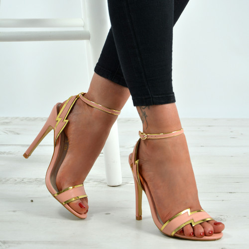 Haven Gold Trim Pink Stiletto Sandals