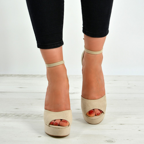 c0ff1c64c349 New Womens Ladies High Block Heels Sandals Floral Platforms Shoes ...