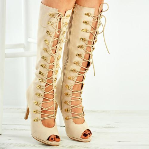 Rayna Beige Knee High Stiletto Sandals