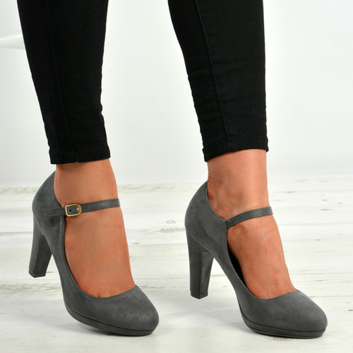 Aurora Grey Block Heel Pumps